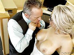 Busty alyssa offering blowjob to her boss @ big tit office chicks