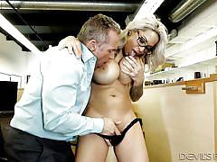 Busty alyssa offering blowjob to her boss @ big tit office chicks