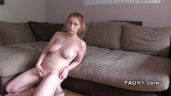 Natural busty redhead fucks in casting