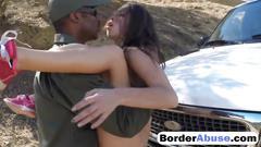 Black border guard bangs busty teen outdoors