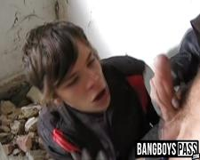 Homeless twink sucked dick and gets ass fucked for money