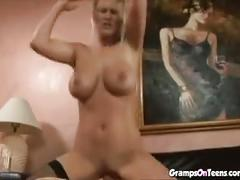 Busty blonde sucking and fucking old dude