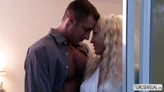 Gorgeous blonde ts aubrey kate and her husband fucks hard on their honeymoon