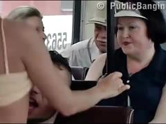 Insane extreme public sex in a bus