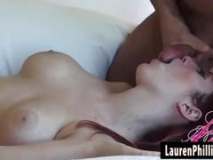 Lauren phillips gets blasted on her face with jizz!