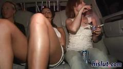 Raunchy sluts show off their tits