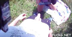 Engulfing dick on a hidden cam clip video 1
