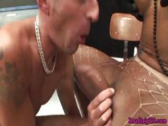 Assfucked shemales drenched with warm jizz