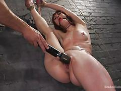 Tied to the wall and fucked