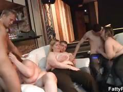 He fucks and cums on sexy chubby lady at party