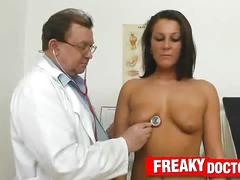 Weird cunt doctor opens pussy of hot brunette ella