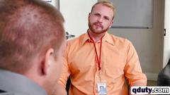 Blonde stud gives head to long schlong in office