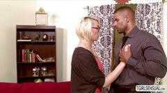 Hot blonde ts aubrey kate attracted to her male teacher and wants to get fuck