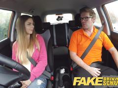 Fake driving school big tits italian student fucks for exam