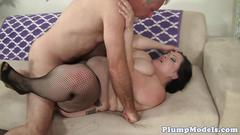 Gorgeous plumper bouncing on a hard cock