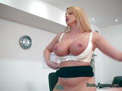 big boobs, big cock, blowjob, big tits, blonde, shaved, tattoo