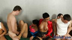 Hardcore bisexual party with raunchy sluts