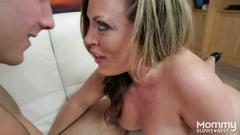 Outrageous blowjob and deepthroat with blonde mommy with big tits