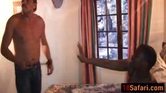 African babe is spanked into having rough threesome sex