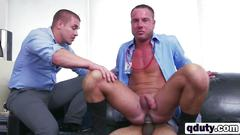 White stud riding on long black dong in office