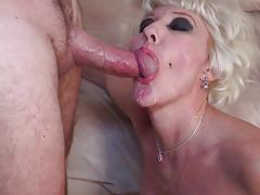 Spunked face of naughty nanny after anal