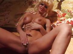 Blonde coguar masturbates alone