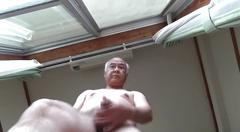 Japanese naked old man masturbation