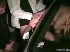 Professional fashion model doing porn in public with random guys