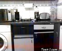 Blonde girl naked in the kitchen clip