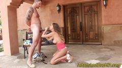 Babe gives head at party
