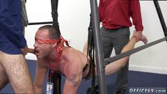 Blindfolded gay hunk is ready for a bondage group fun