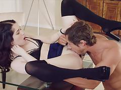 jean val jean, evelyn claire, brunette, blowjob, riding, doggystyle, facial, reverse cowgirl, cowgirl, pussy licking, prone bone