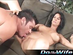 Hot wife fucks a pornstud as her man watches her