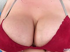 Big boobed fatty uses sex toys on her plump pussy