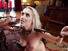 Blonde can't move but still opens her mouth for a dick