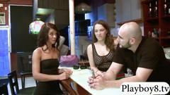 Two tight brunettes fucked by nasty bald dude for cash