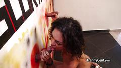 Tanned latina tranny in action