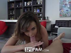 Spyfam step sister curious about step brothers big cock