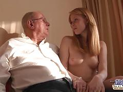 Old grandpa likes to fuck girls pussy