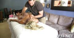 Sensual oil rubbing on pussy clip segment 1