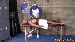 Muscly black masseur fuck