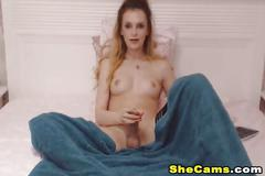 Lovely shemale jerking off on cam
