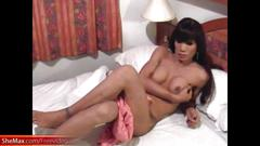 Passionate ladyboy gets oiled up and enjoys ass fingering