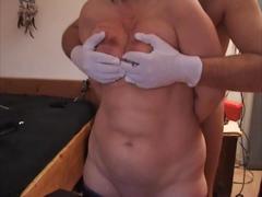 Sklavin-z caresses with thumbtack-gloves