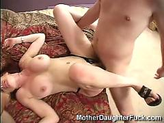 Mother and daughter pounded by huge cocks