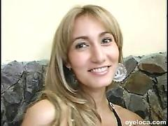 Spicy blonde colombian with huge tits loves getting her pussy cracked open