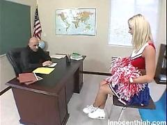 Sweet blonde cheerleader spreads legs and gets banged in class