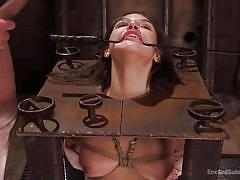 Abella gets her clit stimulated, while choking on a big dick