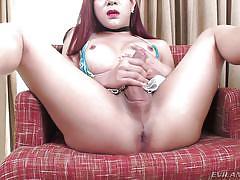 Asian tranny jerks her huge dick @ ts factor #08