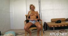 Babe makes unusual handjob blowjob clip 1